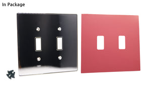 UC12 Magenta/ 2-Gang Toggle Cover & Chrome Frame