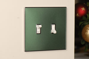 UC36 Dark Green Pearl/ 2-Gang Toggle Cover & Chrome Frame