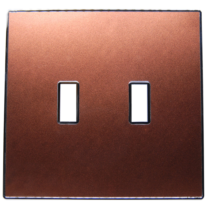 UC40 Copper Brown Pearl/ 2-Gang Toggle Cover & Chrome Frame