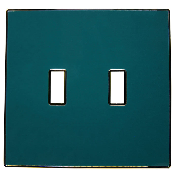 UC44 Forest Green/ 2-Gang Toggle Cover & Chrome Frame