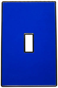 UC55 Deep Bright Blue/ 1-Gang Toggle Cover & Chrome Frame