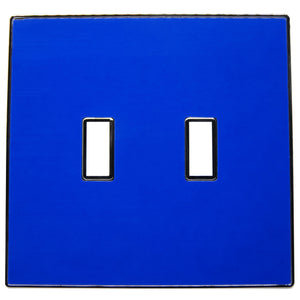 UC55 Deep Bright Blue/ 2-Gang Toggle Cover & Chrome Frame