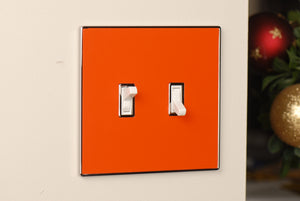 UC56 Deep Orange/ 2-Gang Toggle Cover & Chrome Frame