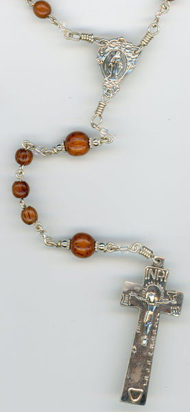 All Argentium Sterling Silver Rosary with Koa Beads