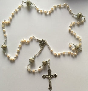White Freshwater Pearl Rosary in Sterling Silver