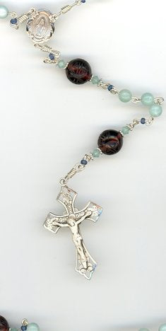 Amazonite Rosary with Antique Etched Our Father Beads