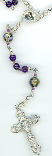 Amethyst Rosary in all Argentium Sterling Silver