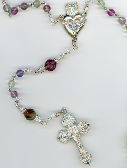 FLUORITE ROSARY with Large Sacred Heart