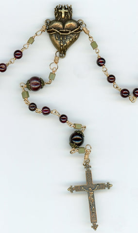 Garnet and Bronze Rosary Closeup