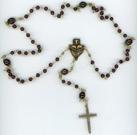 Garnets and Bronze Rosary