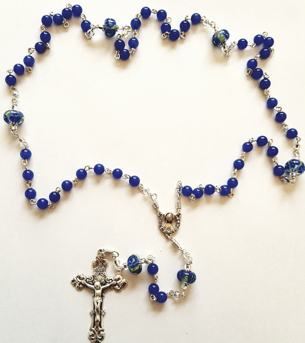 Blue Agate Sterling Silver Rosary