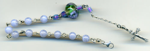 Blue Lace Agate Bracelet in Sterling Silver