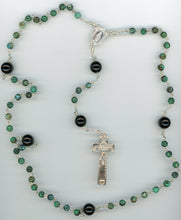 Chrysocolla and Onyx Rosary in Argentium Sterling