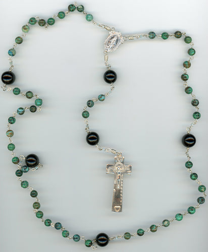 Chrysoprase and Onyx Rosary in Argentium Sterling