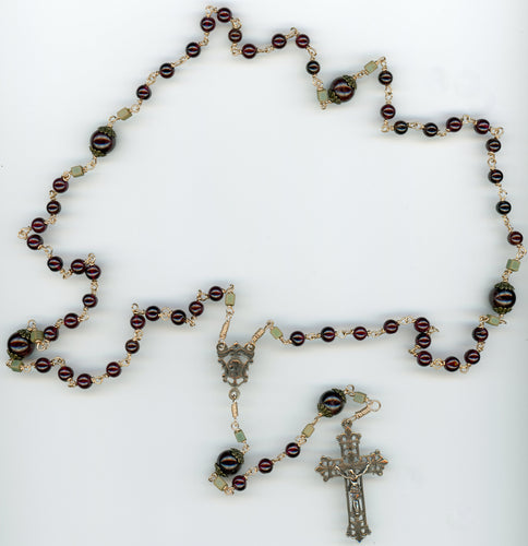 Garnet Rosary in Bronze