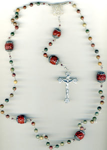 Picasso Jasper Rosary With Cinnabar in Sterling Silver