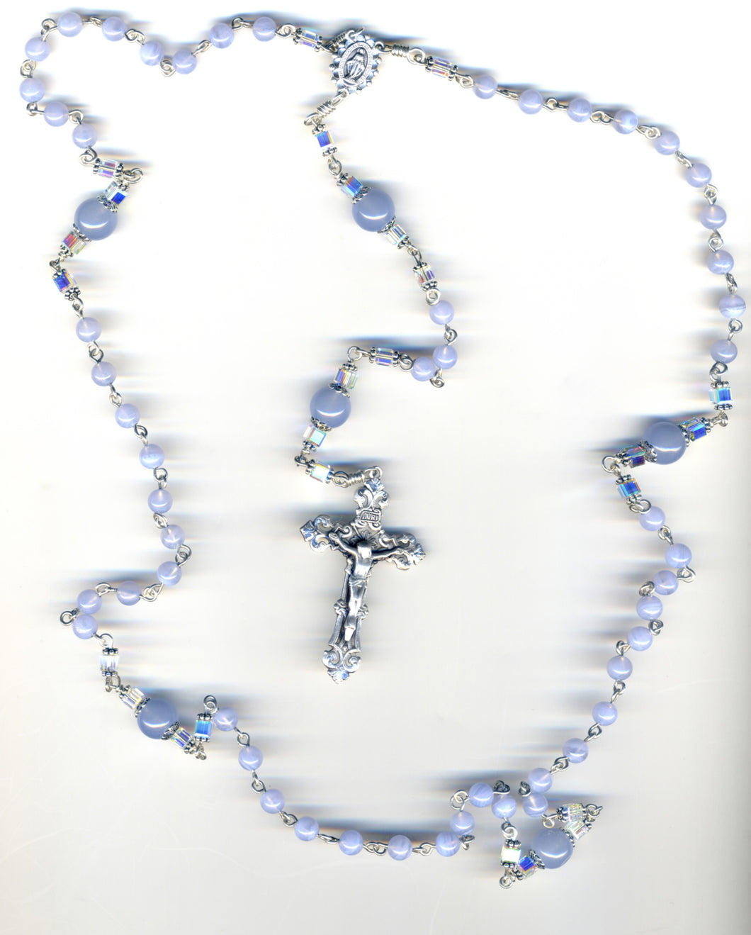 SkyBlue Agate Rosary in Sterling Silver