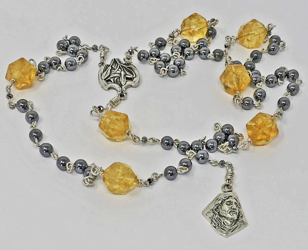 AAA Terahertz and Citrine Seven Sorrows Rosary