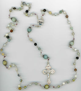 Natural Amazonite Rosary in all Argentium Sterling
