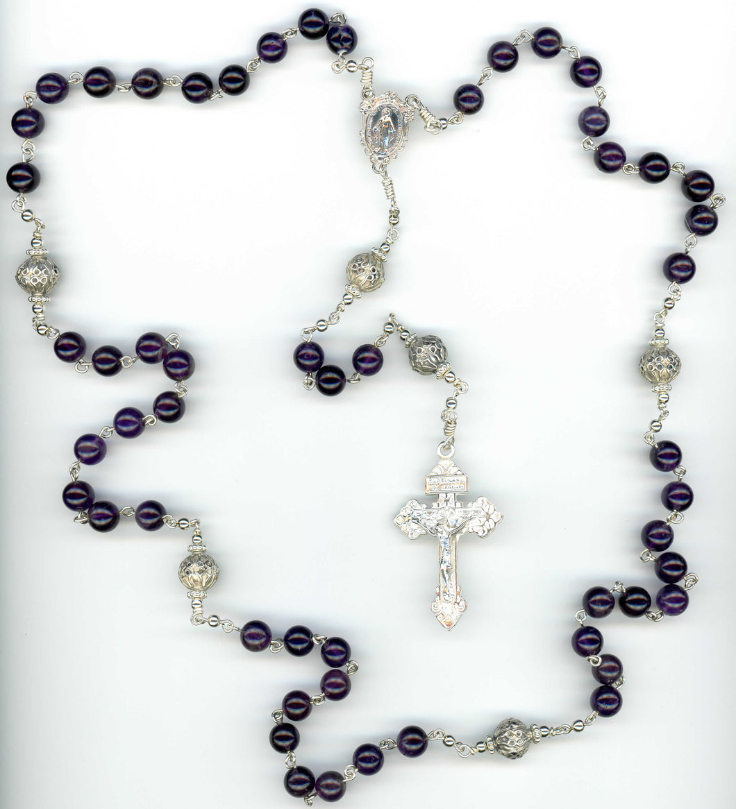 Amethyst Rosary with 8mm beads in Sterling Silver