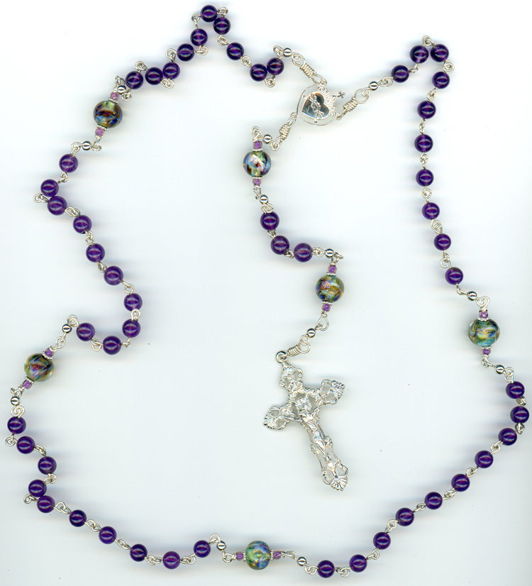 Amethyst Rosary with Handmade Beads