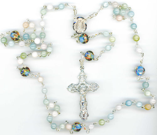 Aquamarine and Pink Beryl Rosary in Sterling Silver