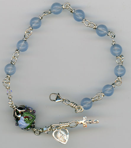 Aquamarine Rosary Bracelet - Choose your gemstone Hail Mary beads