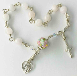 Beryl Rosary Bracelet in Wire Wrapped Argentium Sterling Silver