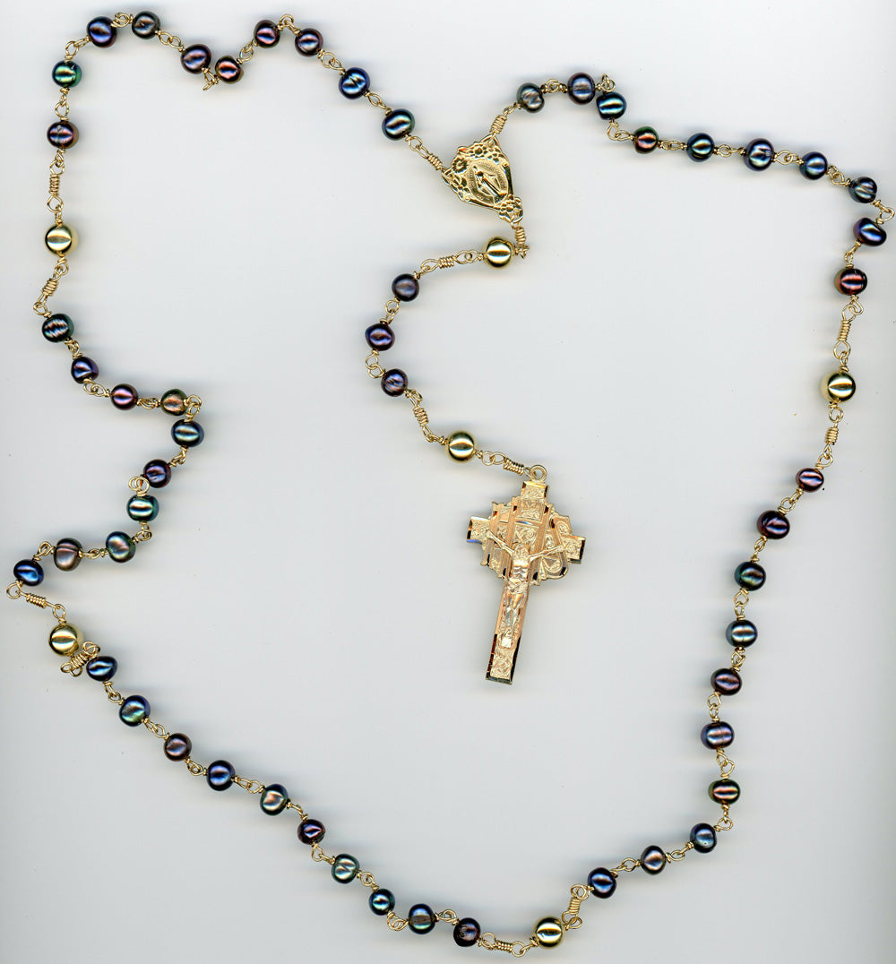 14k Gold Black Pearl Rosary