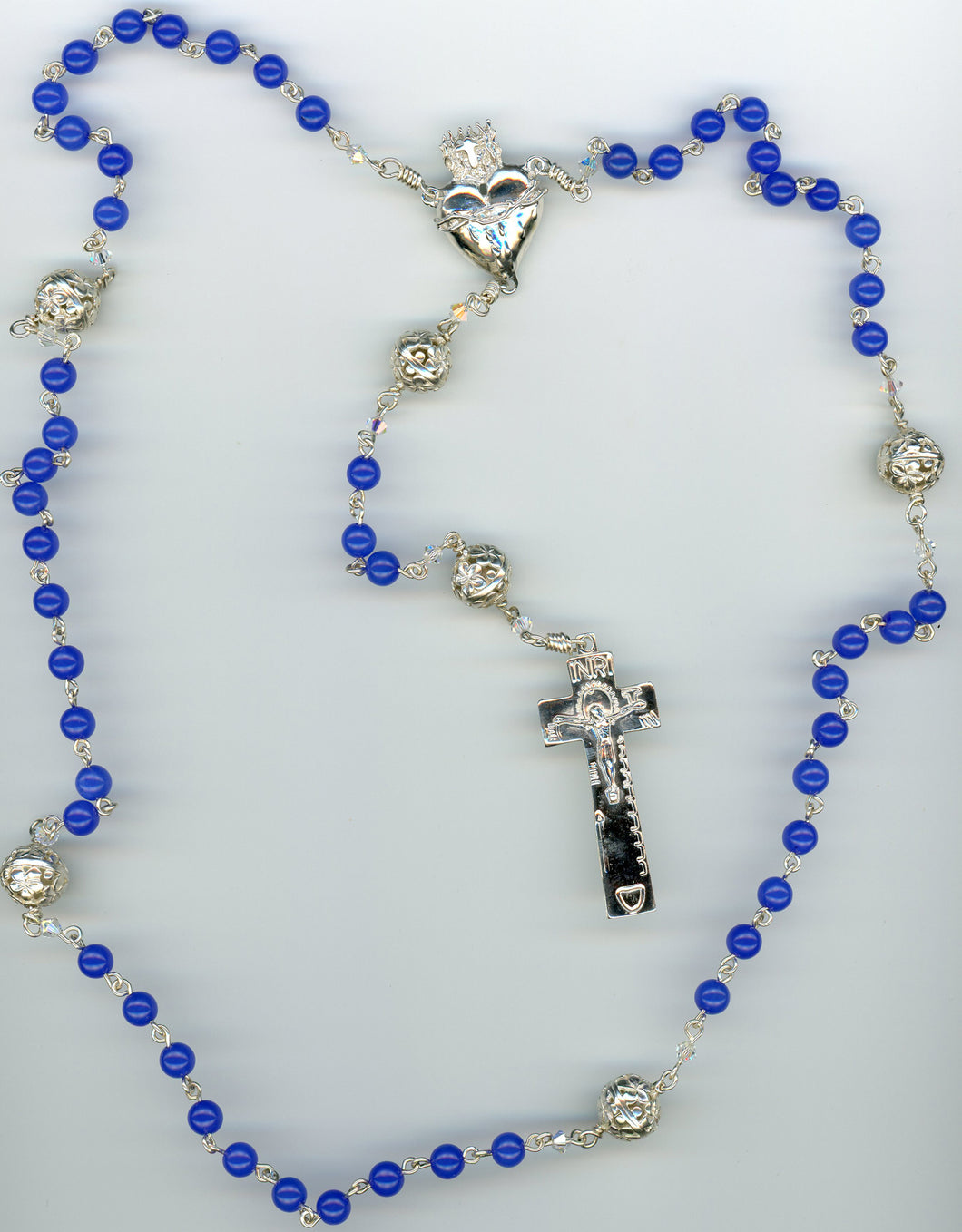 Blue Agate Rosary with Sterling Silver Our Father beads