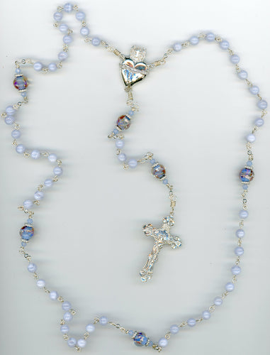 Blue Lace Agate Rosary with Large Sacred Heart