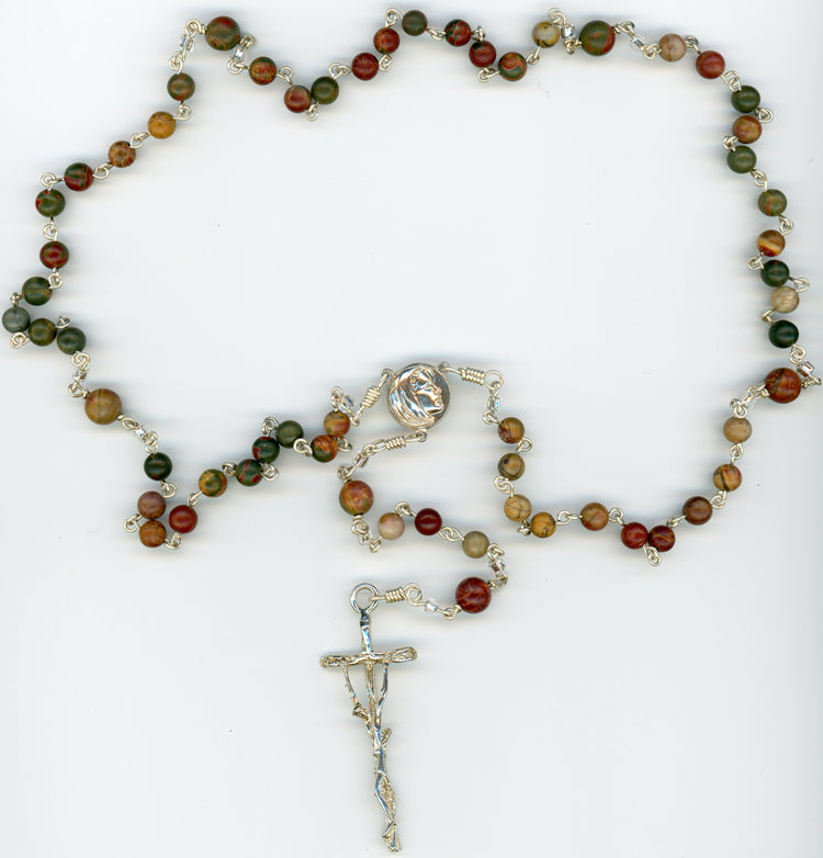 Fancy Jasper Rosary in All Argentium Sterling Silver