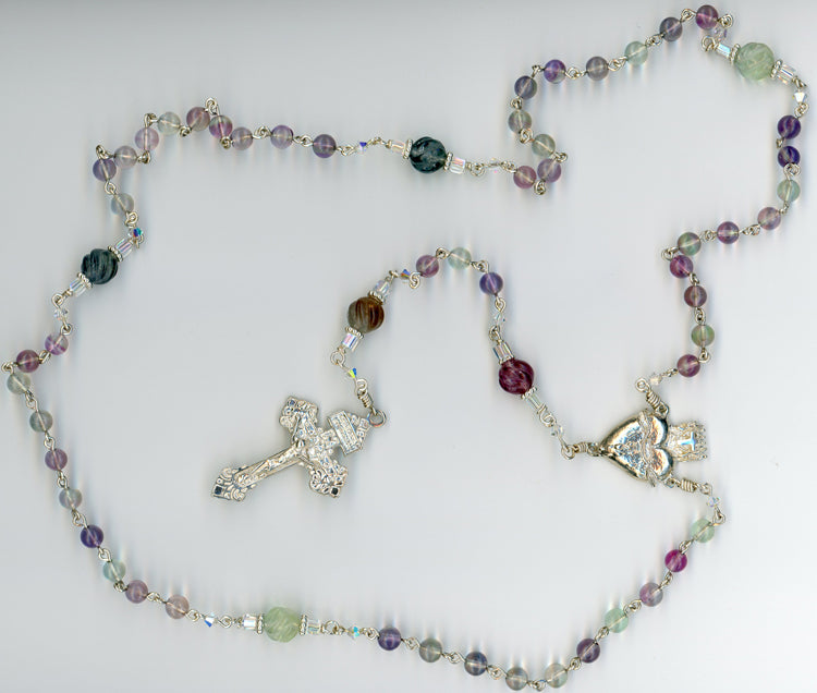 Fluorite Rosary in All Argentium Sterling Silver