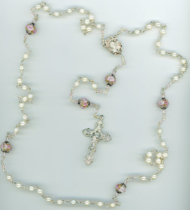 White Freshwater Pearl Rosary with Pink Flower Lampwork