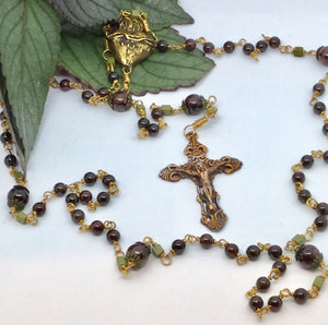 Garnet Rosary in Bronze with big beautiful Sacred Heart