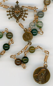 Moss Agate Seven Sorrows Rosary in Bronze