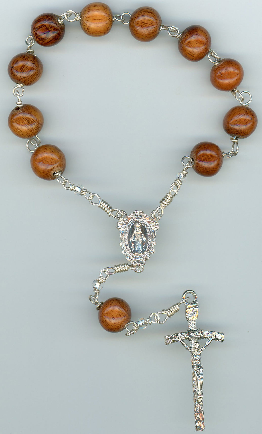 Koa Single Decade Rosary in all Argentium Sterling
