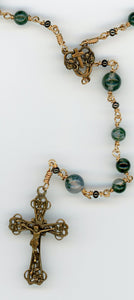 Moss Agate in Bronze -- Wire Wrapped