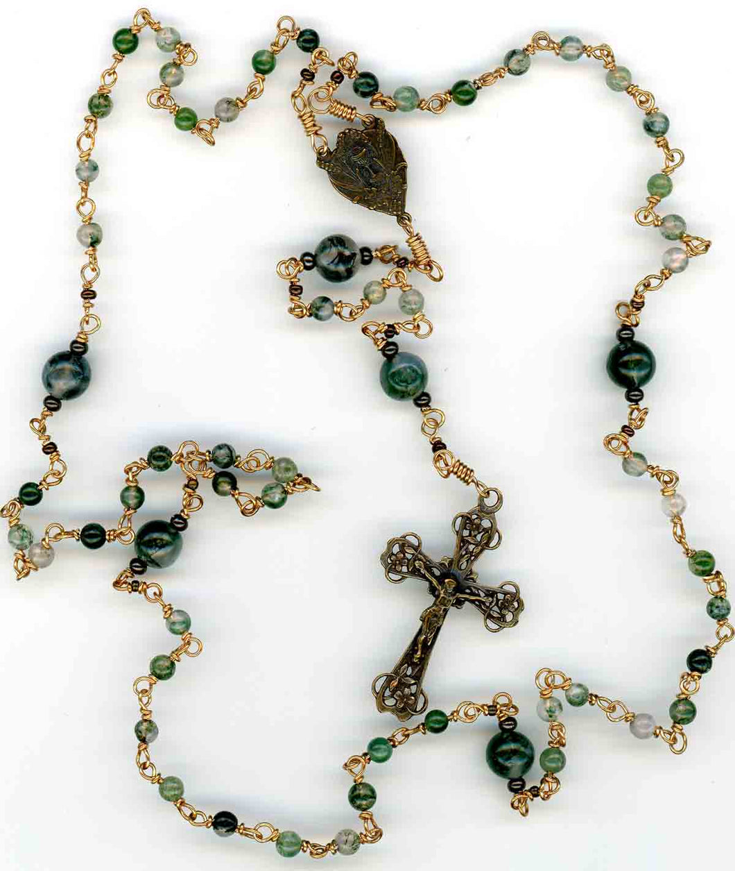 Moss Agate Pocket Rosary in Bronze