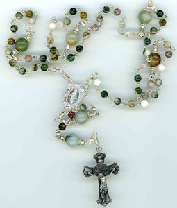 Small Natural Amazonite Rosary Sterling Silver