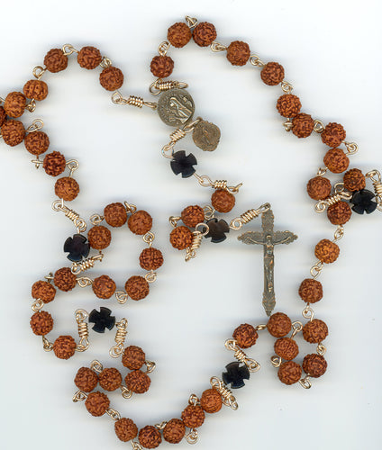 Seed Rosary with Ebony Cross in Bronze