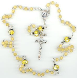 Yellow Jade Rosary Beads