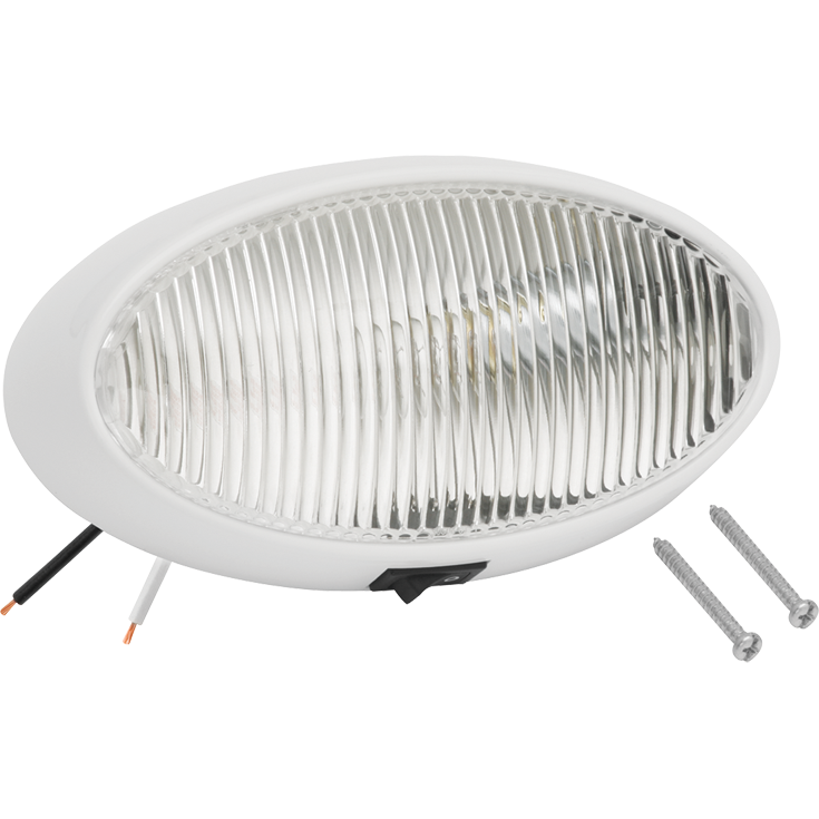 Bargman 30-79-005 Porch Light #79 Oval Clear w/White #5 Base & Switch