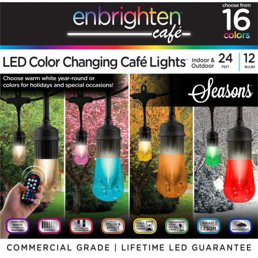 Jasco 37791 Enbrighten Vintage Season Cafe Lights - 24'