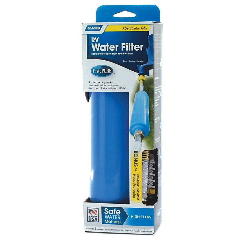 Camco TastePURE Water Filter w/Flexible Hose Protector