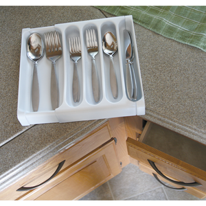 Camco 43503 Adjustable Cutlery Tray - White