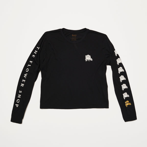 Womens RVCA x The Flower Shop Long Sleeve (Black/White)