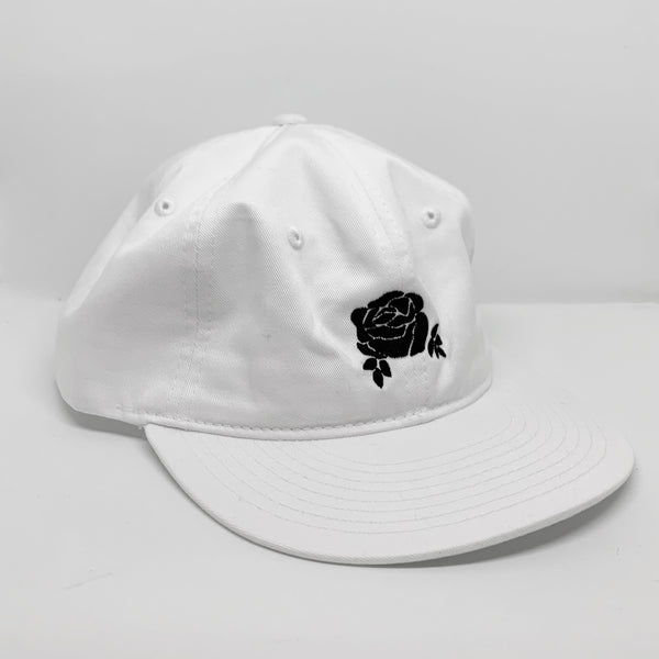 6-panel Rose Dad Hat (white/black logo) *limited edition