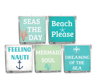 Sand in the Air Salt in My Hair Beach Quote Candle-Comes with a free Starfish Charm