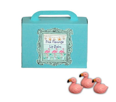 Pink Flamingo Lip Balm Gift Set of 3-Comes with a free Flamingo Charm